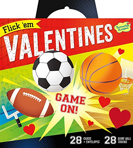 Peaceable Kingdom Valentine Card Flick 'em Sports Games - 28 Card and Envelope Pack (Valentines Day Basketball Cards)