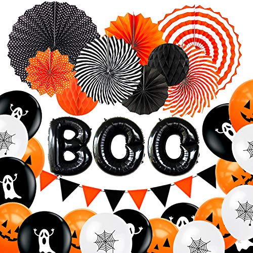 Boo Halloween Party (Adoreu Halloween Party Decorations Supplies Favors, Paper Fans Honeycomb Balls Printed Latex Balloons Black Boo Mylar Foil Balloons Felt Triangle Flag Banner for Halloween Birthday)