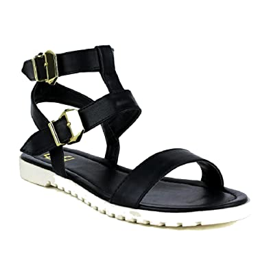 957158cfa15 Fahrenheit POLLY-01 Women s Open Toe Strap at Vamp and Ankle Flat Heel  Sandals (