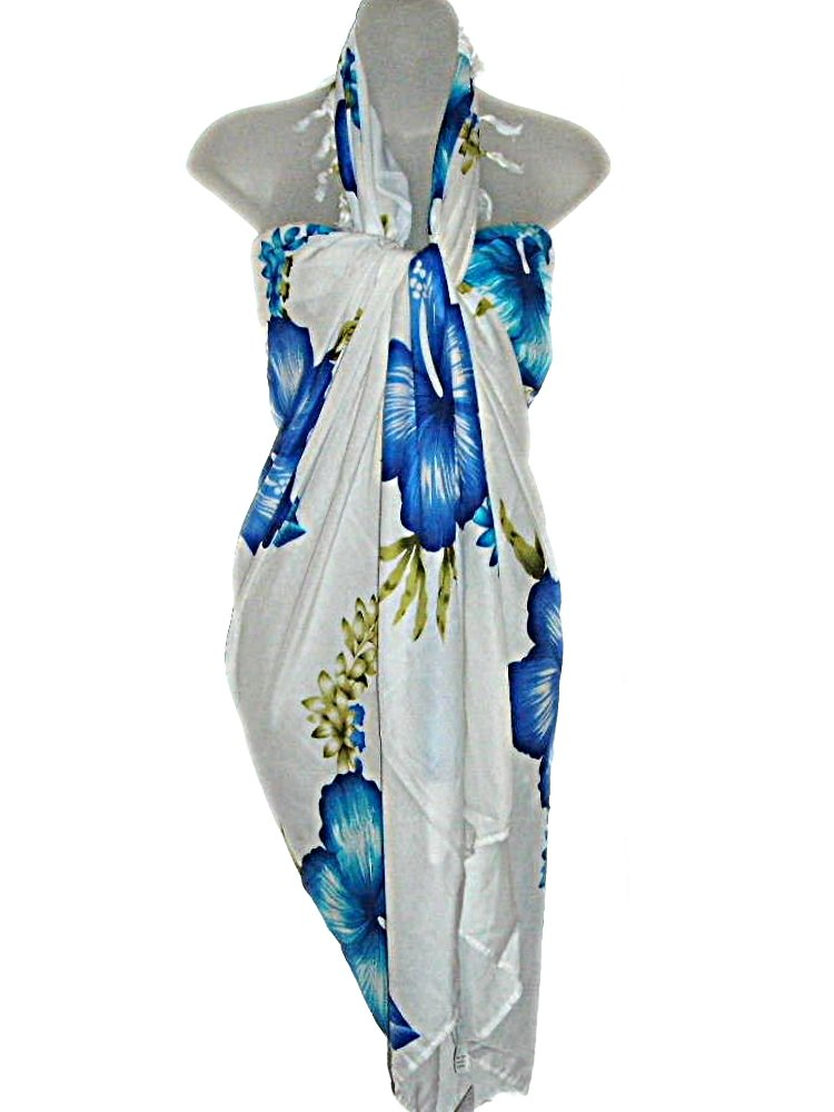 HAWAIIAN BLUE HIBISCUS SARONG GIFT SET-(Sarong, Buckle, Earrings & Gift Bag)