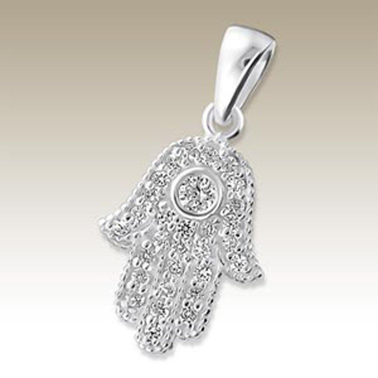 Hamsa Pendant Sterling Silver 925 CZ Stones (E18059)