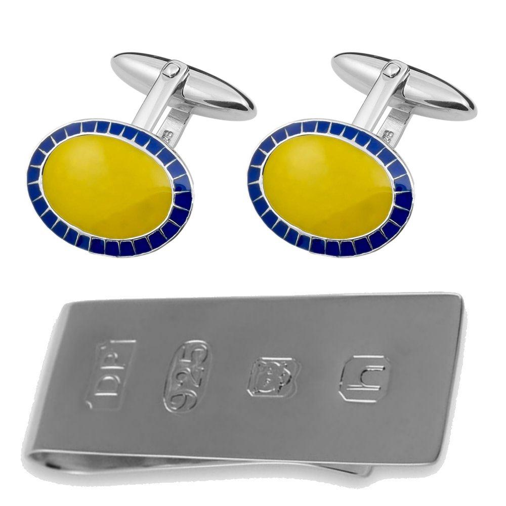 Sterling Silver Oval Enamelled Yellow /& Blue Cufflinks James Bond Money Clip Box Set