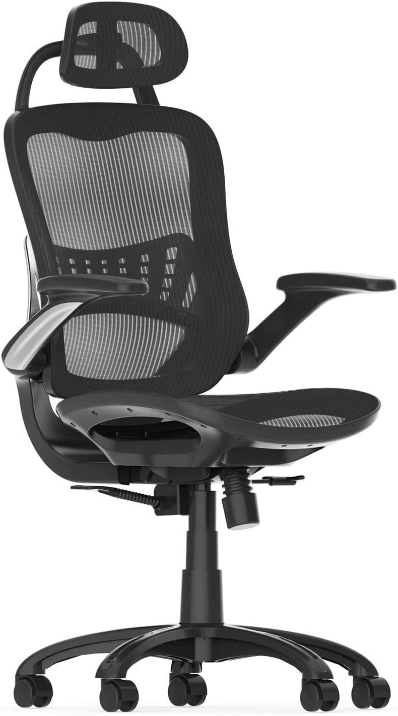 Amazon Com Ergonomic Mesh Office High Back Executive Home Office Desk Chair With Arms Adjustable Height Back Heavy Duty With Lumbar Support 2t Kitchen Dining