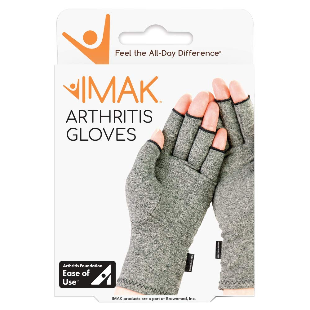 IMAK Compression Arthritis Gloves- Premium Arthritic Joint Pain Relief Hand Gloves for Rheumatoid & Osteoarthritis - Ease of Use Seal from Arthritis Foundation