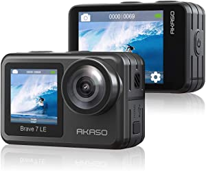 AKASO Brave 7 LE 4K30FPS 20MP WiFi Action Camera with Touch Screen Vlog Camera EIS 2.0 Remote Control 131 Feet Underwater Camera with 2X 1350mAh Batteries