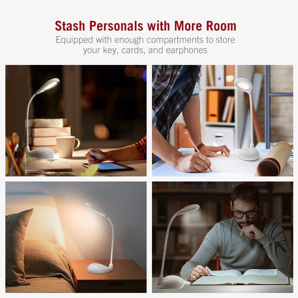 LED Schreibtischlampe TaoTronics Tragbare Tischlampe dimmbar mit 3 Farbtemperaturen Integriertem 1200mAh-Akku bis zu Stunden Schwanenhals und augenschonenden LED-Perlen