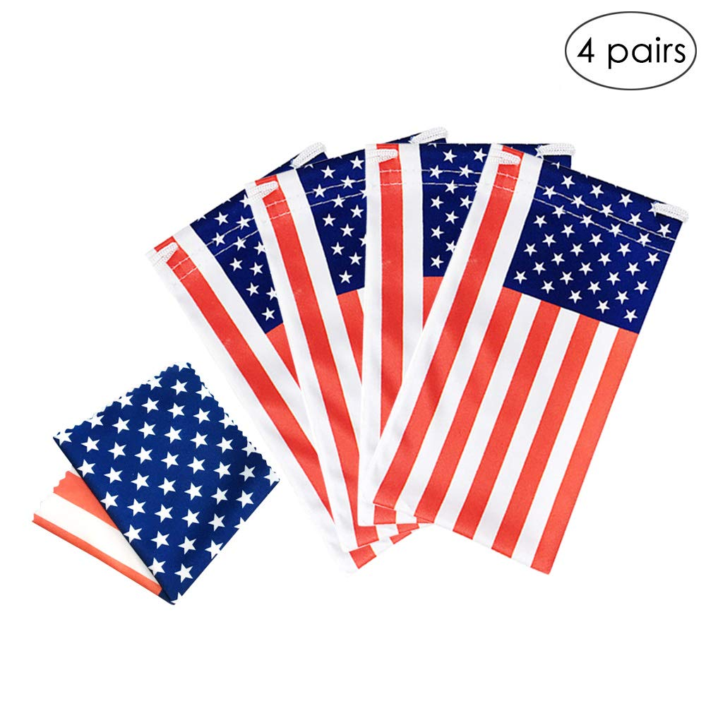 LUFF 4 Pack American Flag Glasses Pouch and Glasses Cloth USA Microfiber Soft Storage Bag