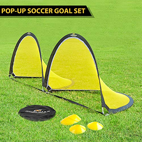 PodiuMax Pop Up Soccer Goal Net 6ft with Reflective Stripe and 6 Cones (Foot Ball Soccer 6)