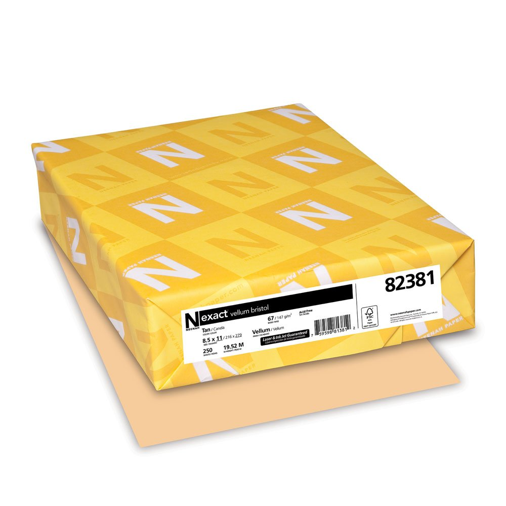 Exact Vellum Bristol, 8.5'' x 11'', 67 lb/147 gsm, Tan, 250 Sheets (82381)