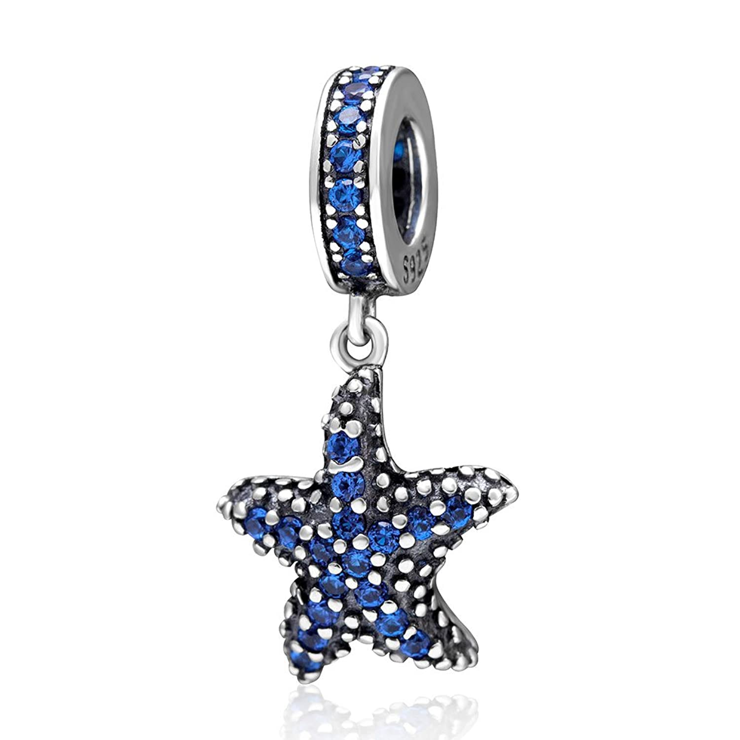 Estrella de mar tropical colgantes maciza  plata de ley Dangle Charm con