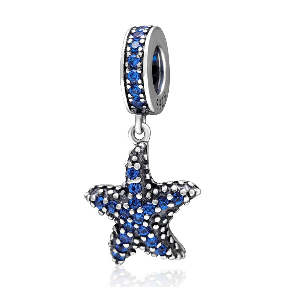 Tropical Starfish Dangling Charm - 925 Sterling Silver CZ Stones Summer Paradise Beads - European Style Charms
