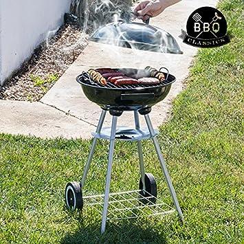 Barbacoa de Carbón con Tapa y Ruedas BBQ Classics: Amazon.es: Jardín