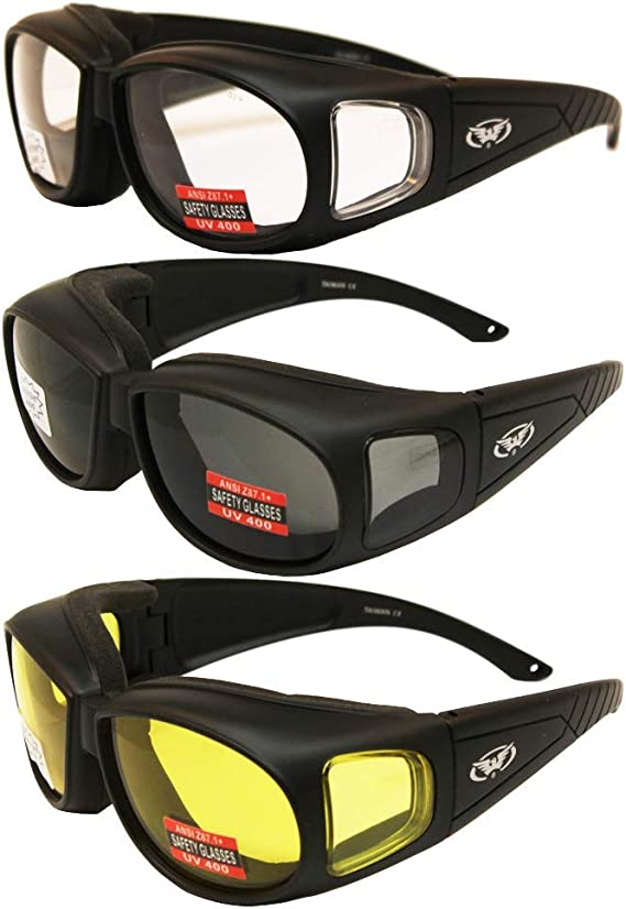 Three (3) Pairs Motorcycle Safety Sunglasses Fits Over Rx Glasses Smoke