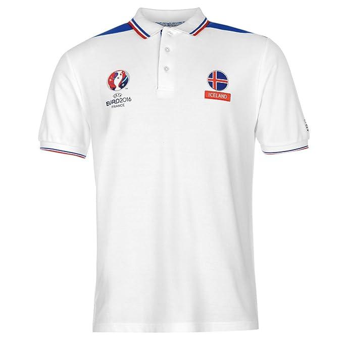 Polo de hombre del equipo de fútbol de Islandia azul y blanco, de ...