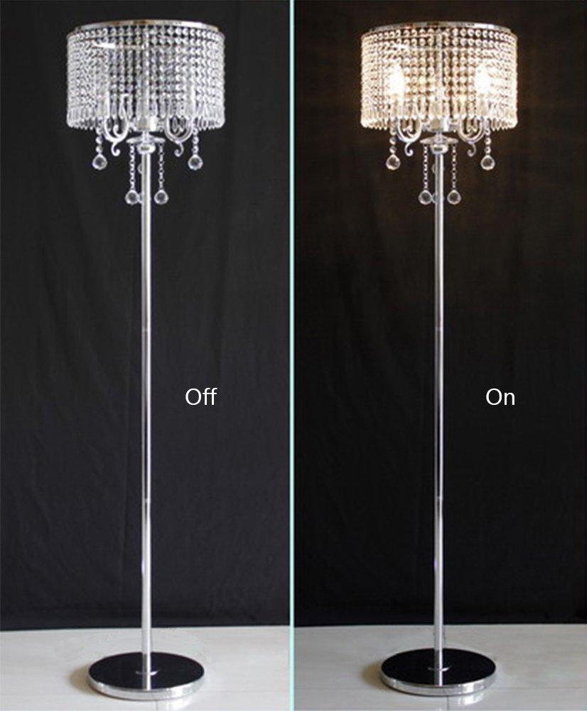 Details about elegant contemporary antique white crystal chandelier floor lamp chrome 2 lights