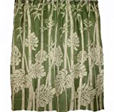 Hawaii Theme Polyester Fabric Shower Curtain Bamboo and Monstera Leaf