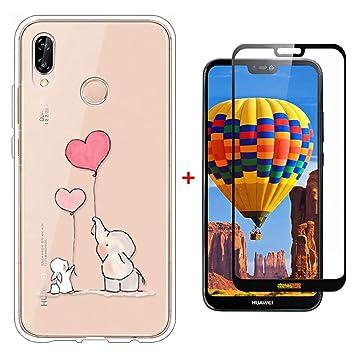 Laixin Funda para Huawei P20 Lite Transparente Carcasa TPU Silicona Case Cover [Anti-arañazos] Cristal Bumper + Protectore de Pantalla, Elefante y ...