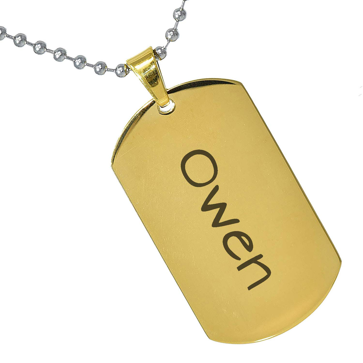 Stainless Steel Silver Gold Black Rose Gold Color Baby Name Owen Engraved Personalized Gifts For Son Daughter Boyfriend Girlfriend Initial Customizable Pendant Necklace Dog Tags 24 Ball Chain