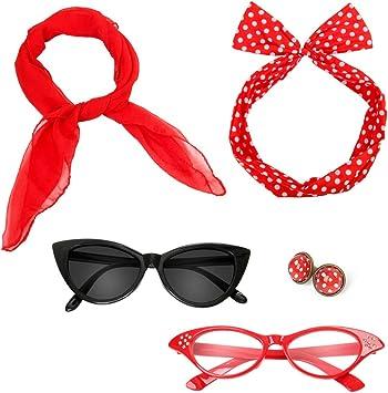 Rouge Beelittle Ann/ées 50 Femmes Costume Accessoires Ensemble en Mousseline De Soie /Écharpe /À Pois Gants Bandana Cravate Bandeau Boucles doreilles R/étro Cat Eye Eglasses