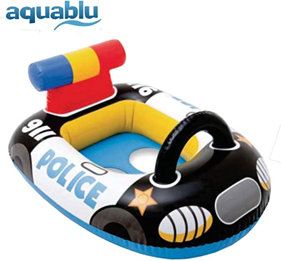 aquablu Inflatable Race Car Cool Summertime Swim Seat & Float Toy for Pool Beach Lake Bay & More Exciting Blue Racer Steering Wheel & Solid Bottom for ...