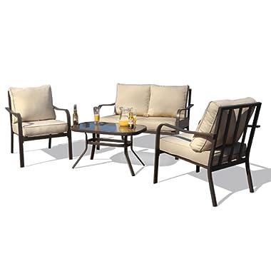 Kozyard Sonrisa Patio 4 PCs Padded Conversation Sets with Coffee Table, Beige