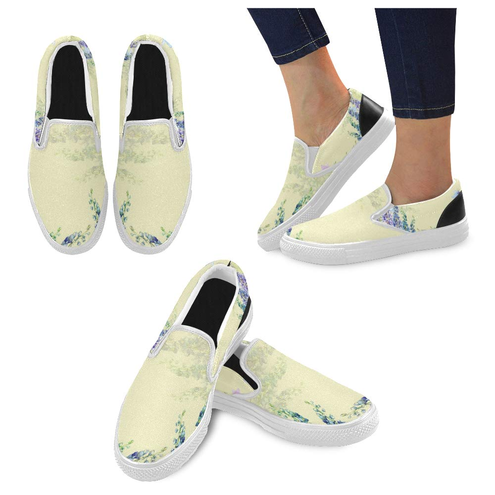 Women Slip On Sneakers Beautiful Blue Delphinium Flowers Butterflies Frame Canvas Slip-on Casual Printing Comfortable Low Top Non Slip Shoes Womens