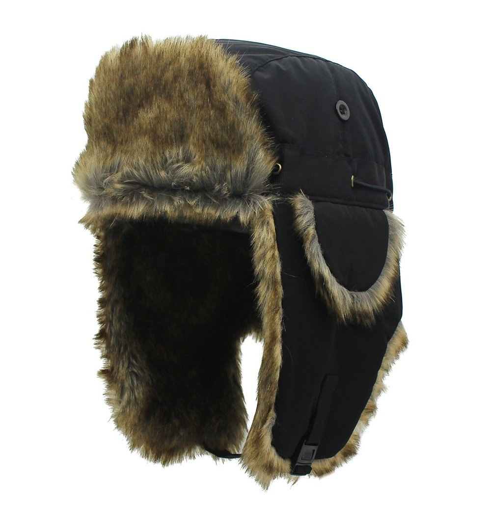 TOFERN Men/Women Water Repellent Fluffy Winter Russian Trapper Hat Thicken Fleece Warm Cycling Hunting Ski Ushanka Cap with Ear Flap, Black Head Circumference 55-62cm