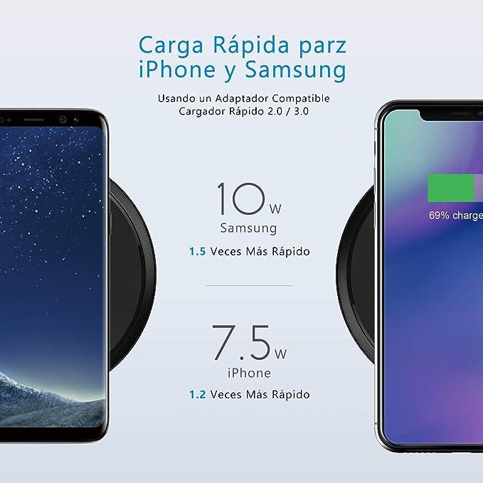 35c257f13ad Seneo [Ver 2.0] Qi Cargador Inalámbrico, Carga Rápida de 10W/7.5W, para  Samsung Galaxy S9/S9+/S8/ S8+/Note 8/Note 9/S7 Edge/S7, iPhone XS/XR/XS  Max/X/8/8 ...