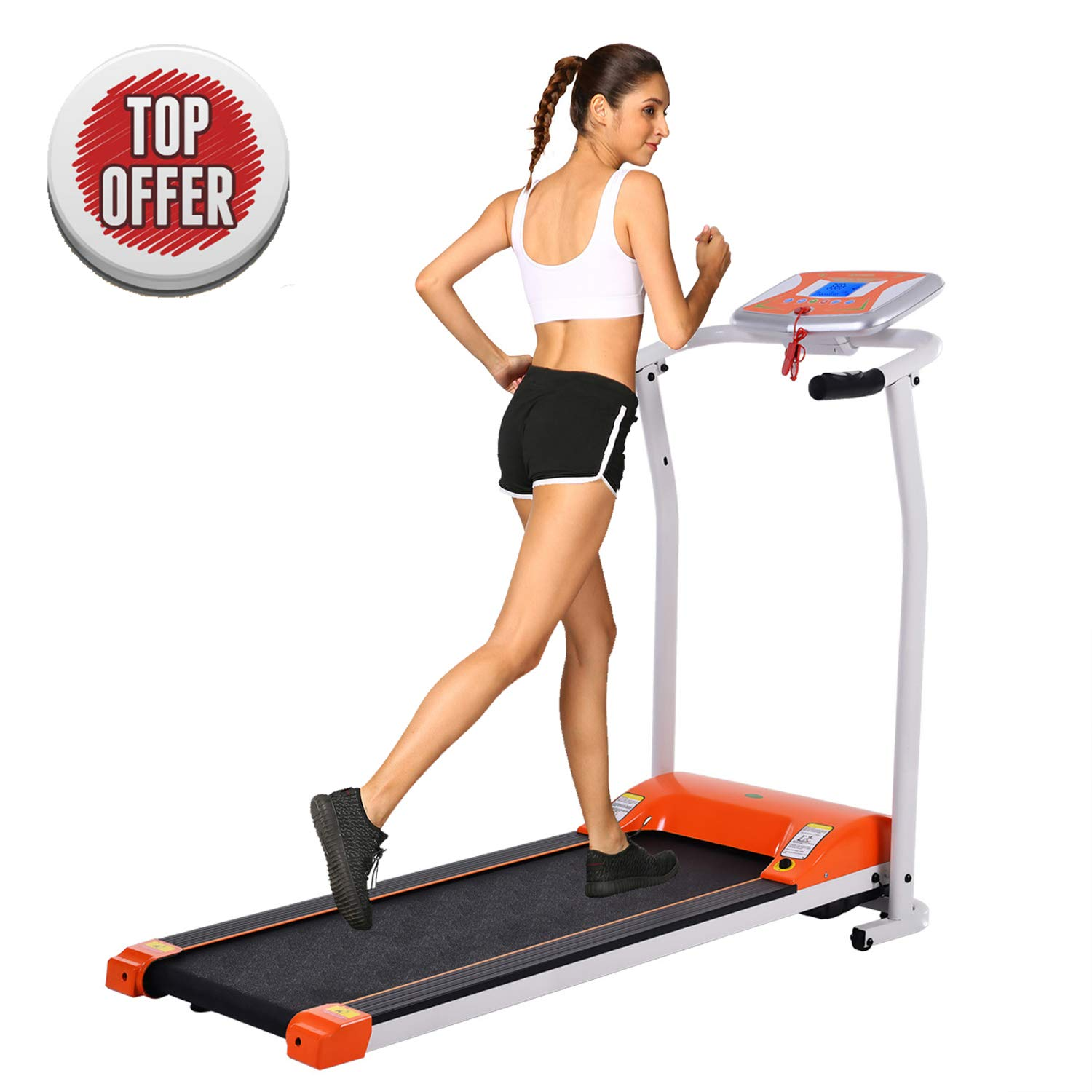 Folding Electric Treadmill Running Machine Power Motorized for Home Gym Exercise Walking Fitness (1.5 HP - Orange - Not Incline)