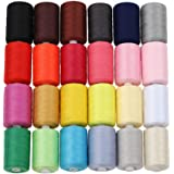 HAITRAL Sewing Thread 24 Colors 1000 Yards Assorted Colors Embroidery Polyester Purpose for Sewing Machine Or Hand Work Great for Hand Needle Works and Arts