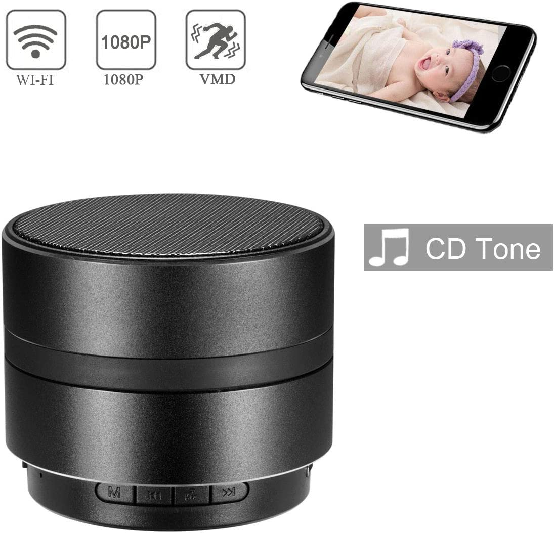 Winsper Camera Bluetooth Speaker WiFi HD 1080P Wireless Nanny Camera,Stereo Music Player Security Video,Remote View Motion Detection Mini Cam (Video Only)