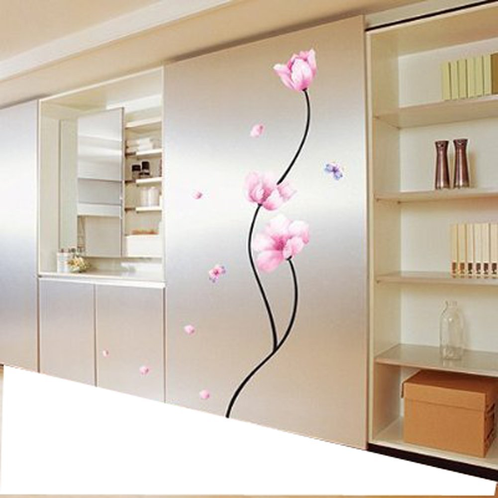 1 X Pink Flower Stem - Easy Removable Wall Decor Sticker Wall ...