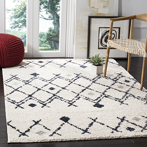 Safavieh Berber Shag Collection BER164D Cream and Navy Area Rug (6′ x 9′)