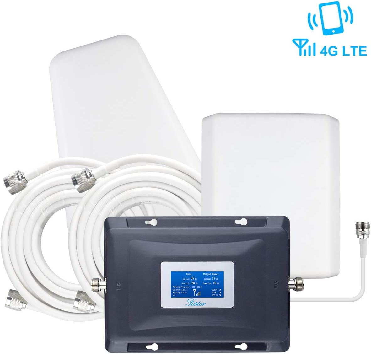 Cell Phone Signal Booster AT&T Cricket 4G LTE 700mhz Band 12/17 Cell Booster ATT T-Mobile Cell Phone Booster Repeater for Home 4G LTE Cell Phone Signal Amplifier Antenna Kit LCD 4G Data/Call FUSTAR