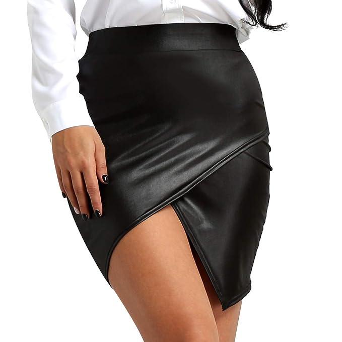 3fa1c767b Agoky Women's Wet Look Leather High Waist Side Slit Bodycon Midi Pencil  Skirt Slim Skort Black