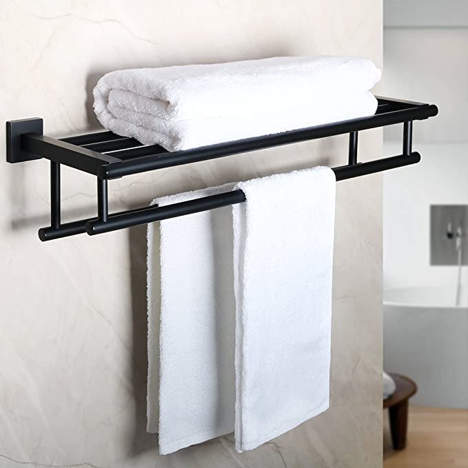 Alise Gz8000 B Bathroom Lavatory Towel Rack Towel Shelf With Two Towel Bars Wall Mount Holder 24 Inch Sus 304 Stainless Steel Matte Black Kitchen Dining Amazon Com