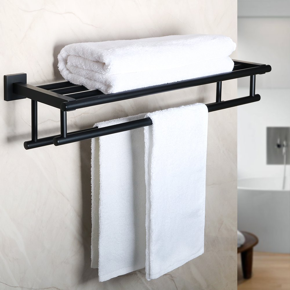 Alise GZ8000-B Bathroom Lavatory Towel Rack Towel Shelf with Two Towel Bars Wall Mount Holder,SUS 304 Stainless Steel Matte Black