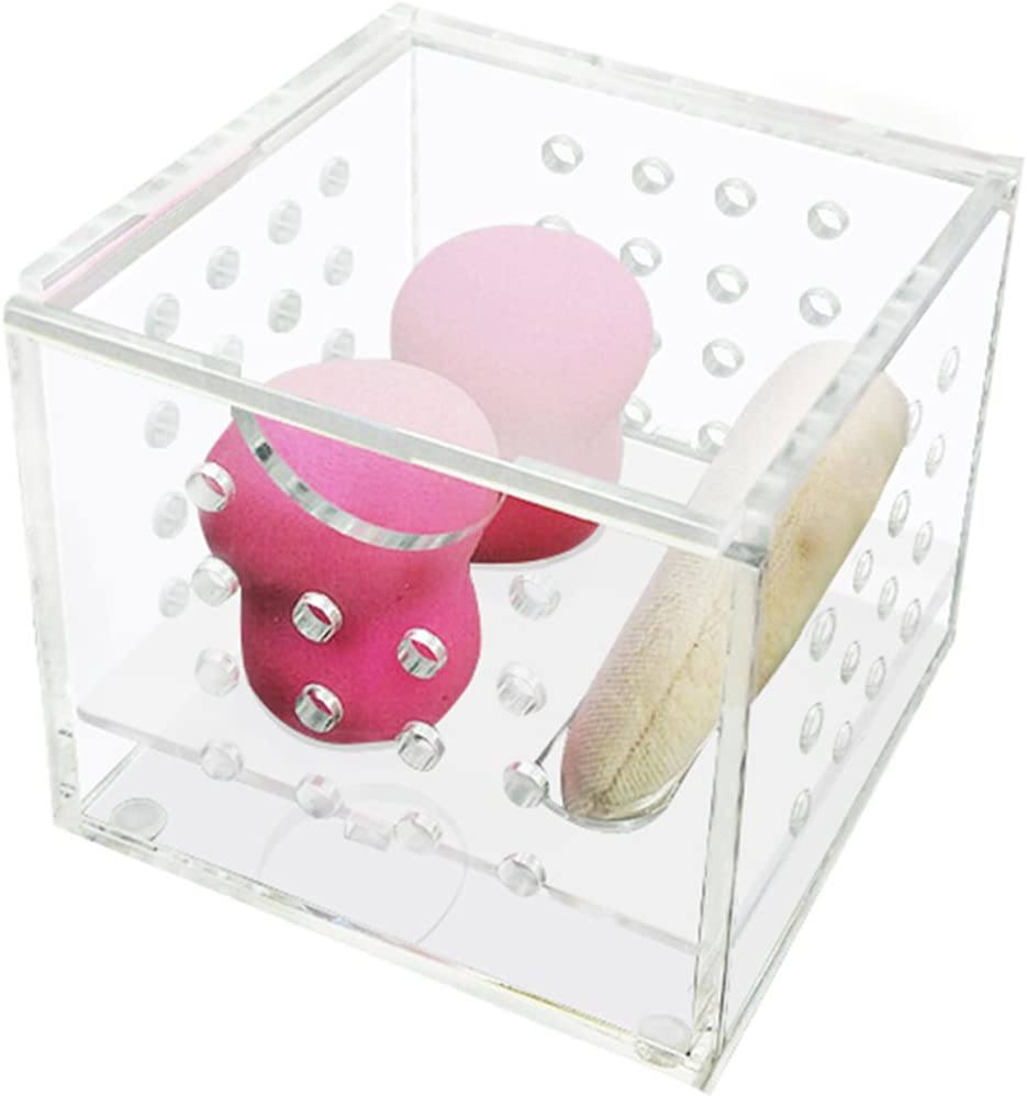 ZZ Lighting Great Ventilation Clear Acrylic Beauty Sponge Blenders Organizer Comestic Sponge Puff Storage(Small)