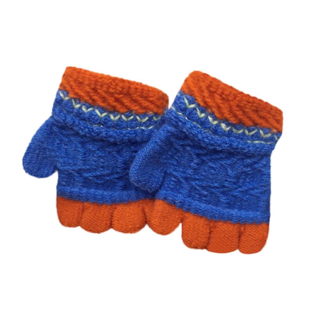 Gallity Infant Baby Boy Girls Lovely Winter Warm Thicken Patchwork Knitted Cotton Gloves Mitten