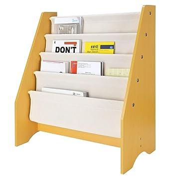 SortWise R Kids Book Rack Storage Sling Bookshelf 4 Tier For Toy Display Natural
