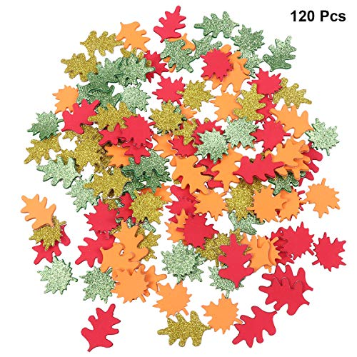 Healifty 120pcs Self Adhesive Maple Leaves Foam Craft Stickers for Kids Children (Assorted Color)