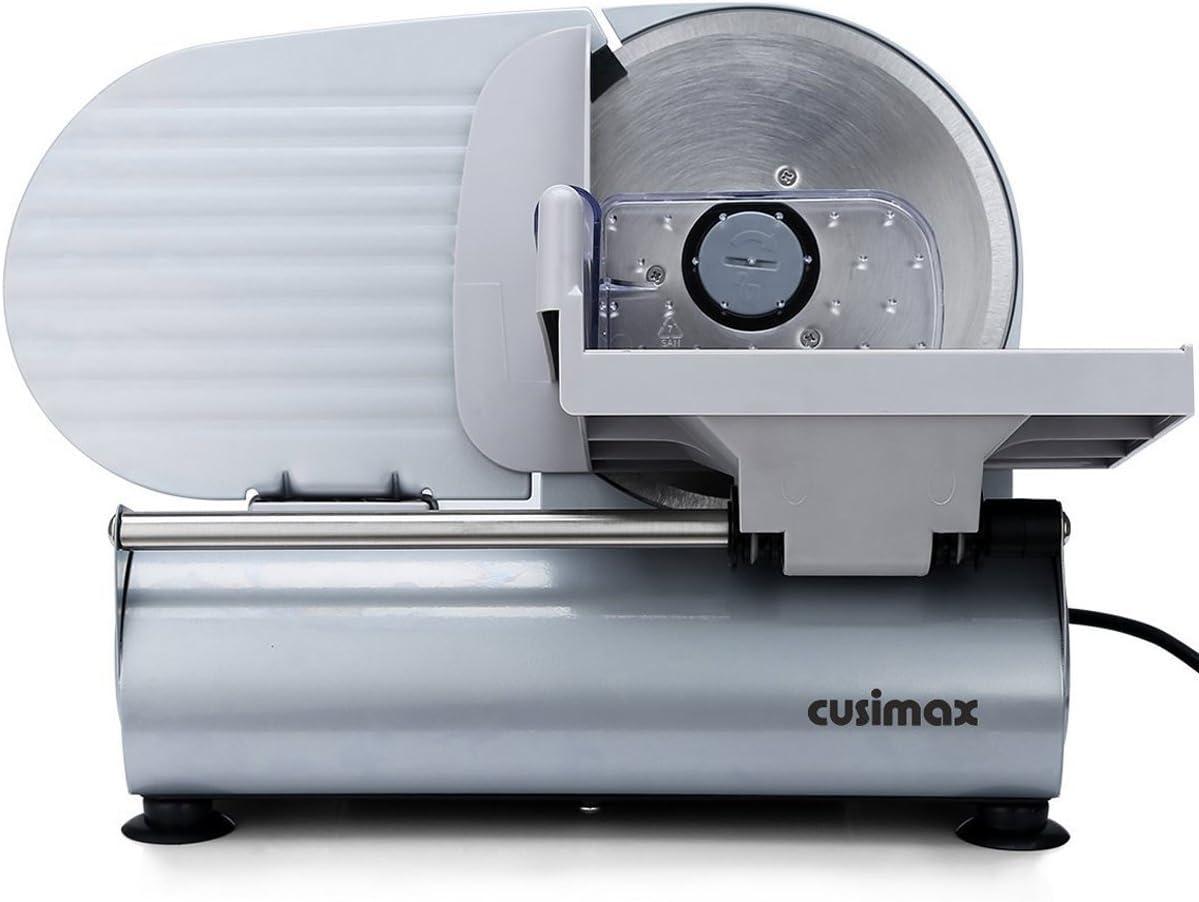 Cusimax 150W Trancheuse Électrique 19cm Lame Inox, Trancheur Saucisse Viande, Fromage, Pain Trancheuse pour usage domestique, CMFS-200, Argent
