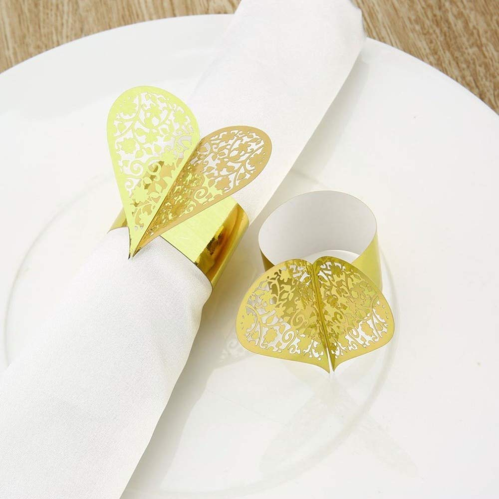 Culturemart Heart Shape Laser Cut Paper Napkin Ring for Wedding Party Dinner Table Decoration Napkin Buckle