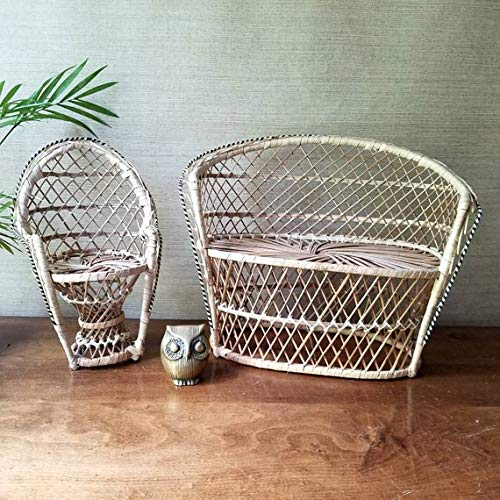 Rattan Vintage (Boho Mini Peacock Chair Settee, Vintage Rattan Loveseat, Wicker Plant Stand Bench, Doll Chair)