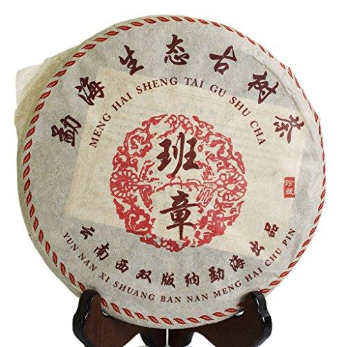 (357g (12.6 oz) 2003 Year Organic Yunnan BanZhang Ancient Tree Golden Buds Pu'er puerh Puer pu-erh Ripe Tea Cake)