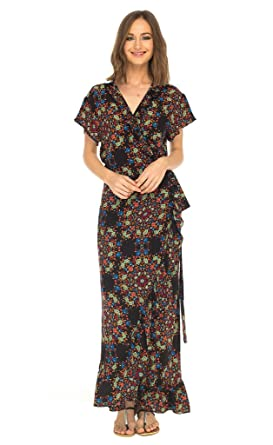 SHU-SHI Womens Long Floral V-Neck Wrap Dress Short Sleeve Maxi Boho Sundress