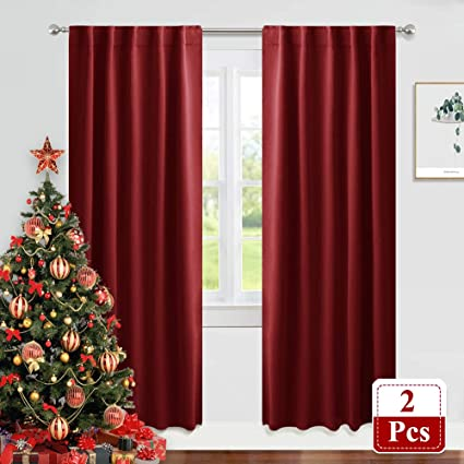 PONY DANCE Decoration Window Curtains - 42 x 84 Inch, Red Drapes Festival  Home Decor Modern Elegant Back Tab Window Covering Blackout Curtains ...