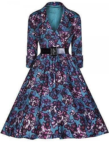 PU&PU Robe Aux femmes Swing Vintage,Fleur Col en V Midi Coton , red-2xl , red-2xl