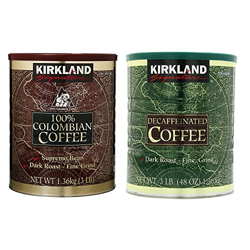 Kirkland Signature 100% Colombian Coffee and Dark Rost Fine Grind Decaf Arabica Coffee Bundle-Includes Kirkland Signature Colombian Coffee(3 LB) Kirkland Signature Decaf Arabica Coffee, 48 Ounce -