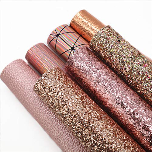 """ZAIONE 7Pcs/Set 8"""" x 12""""(20cm x 30cm) A4 Bundle Sheets Mixed Rose Gold Series Holographic Sparkle Fine Chunky Glitter Faux Leather Colorful Combinations Vinyl Fabric Craft(Rose Gold Series)"""